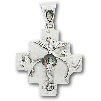 Peruvian Silver and Shell Chakana Four Direction Pendant Shamans Market. $89.00. Hand Made in Peru. Fair Trade. 950 Sterling Silver