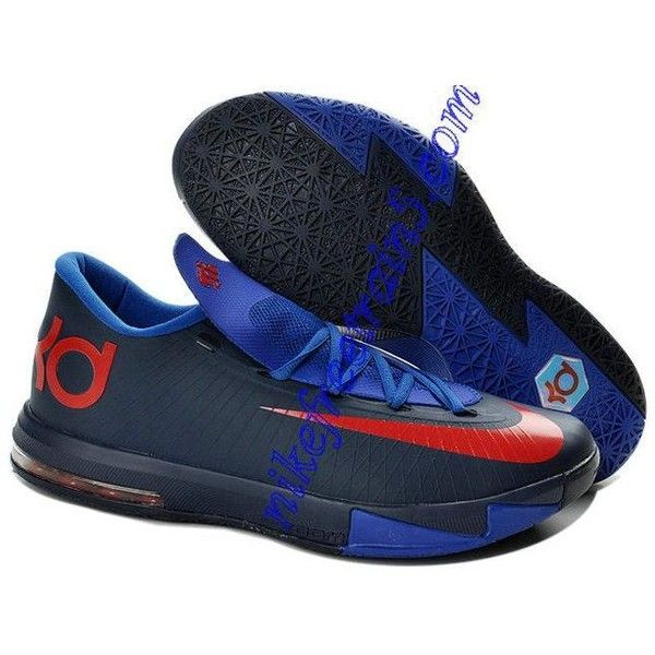 College Navy Nike KD VI Royal Blue Red 599424 800 ? liked on Polyvore  featuring shoes