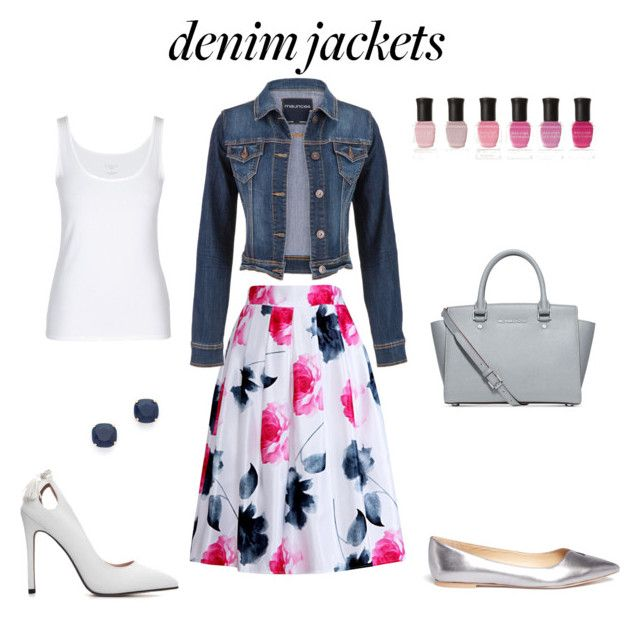 """Denim jacket with floral skirt"" by borbalastyle on Polyvore featuring Relaxfeel, maurices, Kate Spade, Michael Kors, Deborah Lippmann, Sam Edelman and jeanjackets"