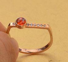 Rosa banhado a ouro anéis de cristal para mulheres, Aço inoxidável jóias de rubi anel feminino(China (Mainland))