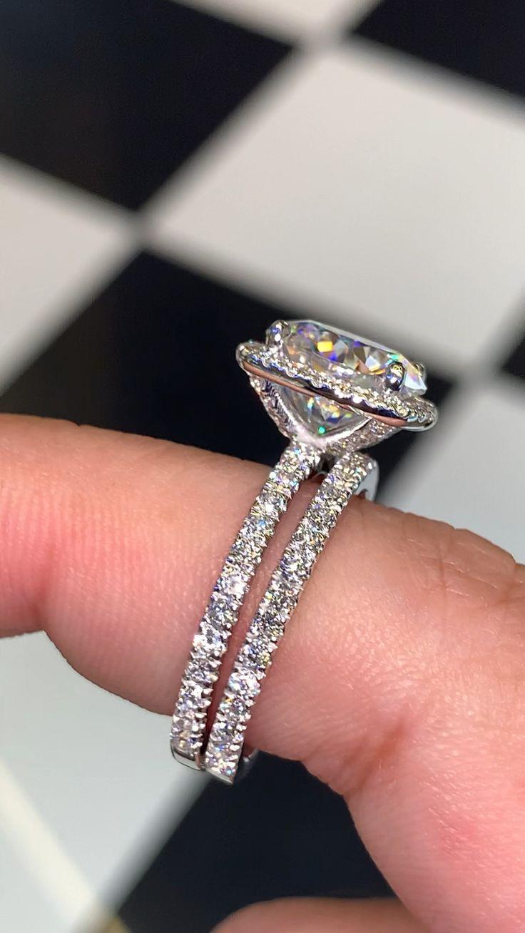 Pave Diamond With Halo Around Large Stone With Matching Wedding