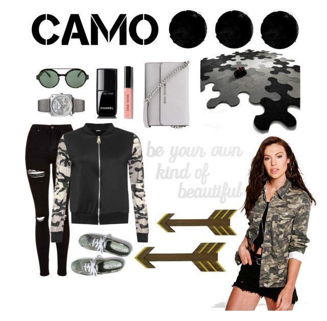 """""""camo style"""" by qthrnnda on Polyvore featuring Topshop, WearAll, Keds, Boohoo, Italia Independent, Chanel, Bell & Ross, Bobbi Brown Cosmetics, MICHAEL Michael Kors and PBteen"""