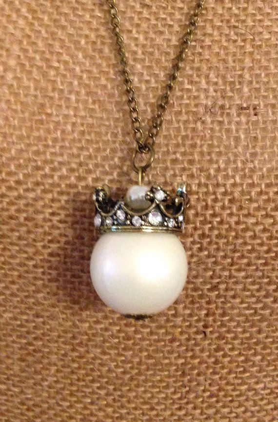 Large Pearl and Crown Pendent Necklace on Etsy, $8.99