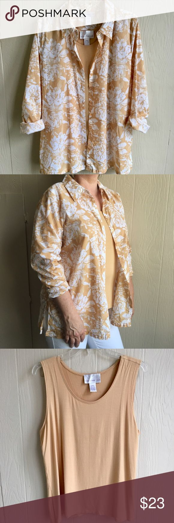 Susan Graver Floral Button-down with Cami 100% cotton (button-down). Cami is 95% Rayon/5% spandex. Cami is very soft, stretchy and slimming. A little pilling do to material. Great neutral tones to keep cool with and to match to! Good used condition. Whimsical Floral button detail. Susan Graver Tops Button Down Shirts
