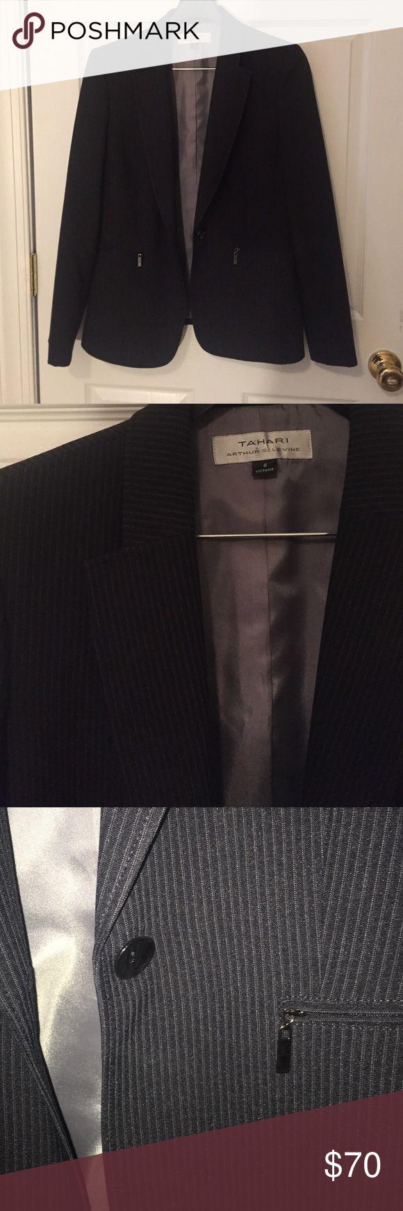 Black pin stripe suit jacket Black pin stripe suit jacket Tahari Jackets & Coats Blazers