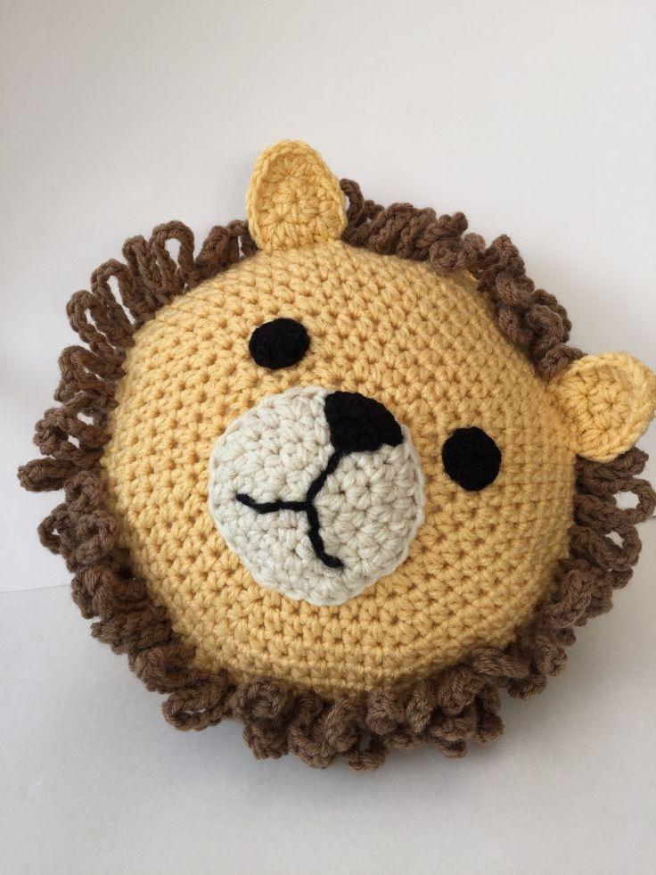 Crochê Leão Travesseiro Almofada Artesanal Crochê Animal Travesseiro Leão Crochet Almofadas De Croche Pinguim De Crochê