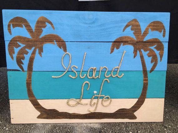Vida en la isla hecha a mano con cuerda playa plataforma arte