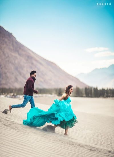 Indian Wedding Photography - Beautiful Ladakh Pre Wedding Shoot with the Bride in a Aqua Gown | WedMeGood  #wedmegood #indianbride #indianwedding #gown #prewedding #shoot #ladakh