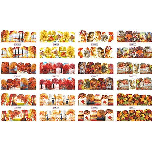 Yibenwanligod 12Pcs Women Autumn Maple Leaves Nail Art Stickers DIY Manicure Dec…