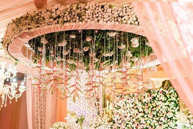 Isn't this floral chandelier just gorgeous ? Done by @elementsdecorindia   #decor #indianwedding #wedding #decor #weddingdecor #floral #ferns #indianbride #pastels