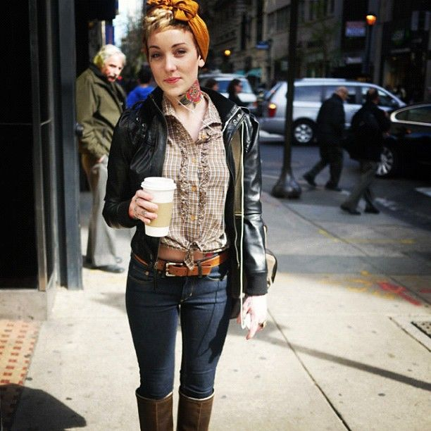 Jeans. Boots. Leather jacket. Retro headscarf.