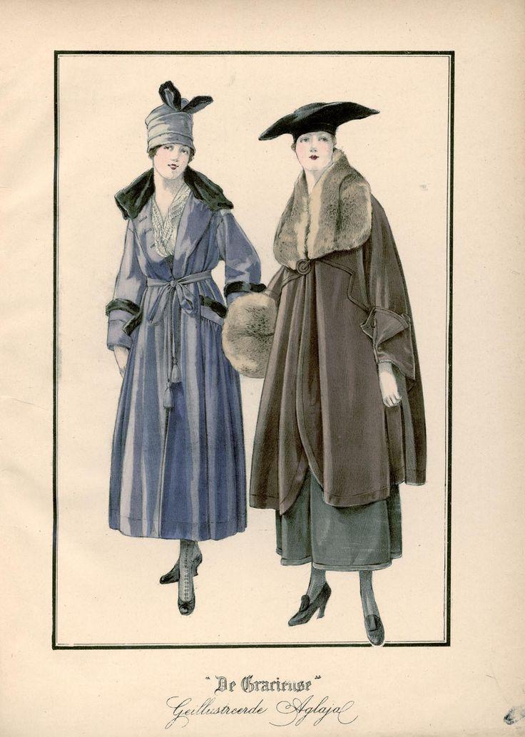 [De Gracieuse] No. 1. Tailleurjapon van grijs-lila lakenstof, gegarneerd met otterbond. No. 2. Mantel van fluweel met een grooten pas en Kimono-mouwen. De breede kraag en de mof zijn van vossenbont (January 1917)