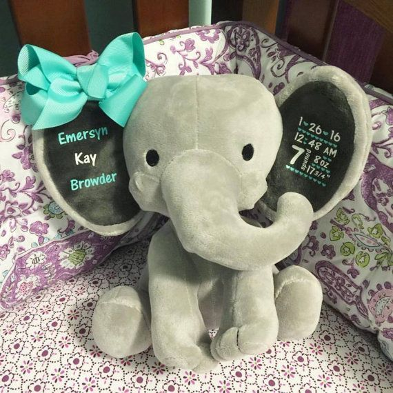 Personalized Birth Elephant - New Mom Gift - First Birthday Gift - Baby Shower Gift - Nursery Decor - Baby Gift