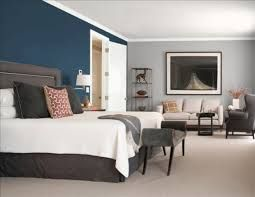 Blue accent wall with gray walls - future bedroom {with or without blue wall - maybe just blue bedspread and decor}
