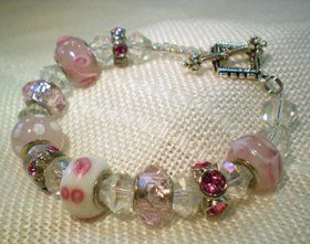 Pandora-Style Glass Bead and Crystal Bracelet