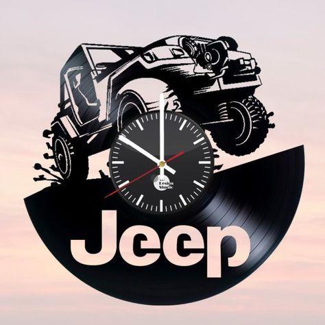 JEEP Handmade Vinyl Record Wall Clock Fan Car Design – Holz Wood Brennen