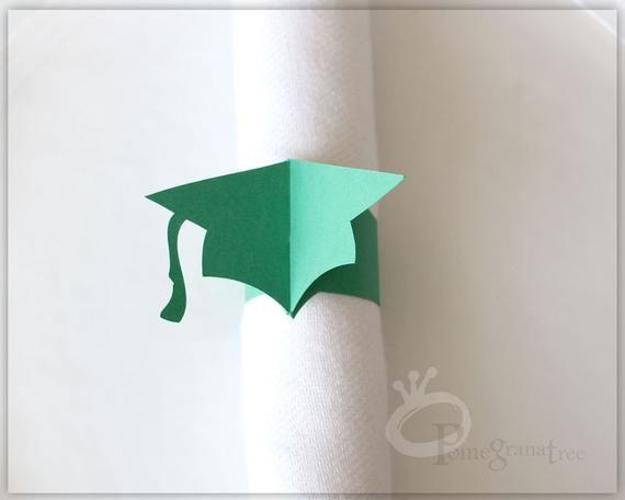 Graduation Party Decor, Silver Graduation Hat, Set of 10 Grad Cap Paper Napkin Rings, Class of 2018 – Products