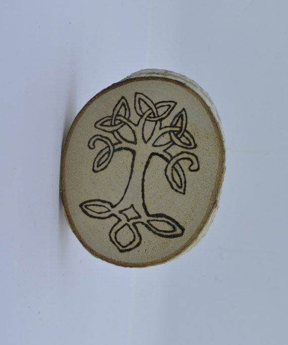 Wooden celtic coaster with a tree. For mug by ArchdeansMagicShop