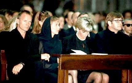 July 22, 1997: Diana, Princess of Wales next to Sir Elton John & his partner, David, and Sting and his wife, Trudy during a memorial service for Italian stylist Gianni Versace in the Milan Cathedral.