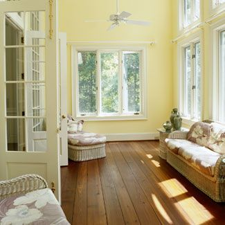 sunroomsWall Colors, Ideas, Yellow Wall, Sunrooms, French Doors, Room Decor, White Trim, Painting Colors, Sun Room