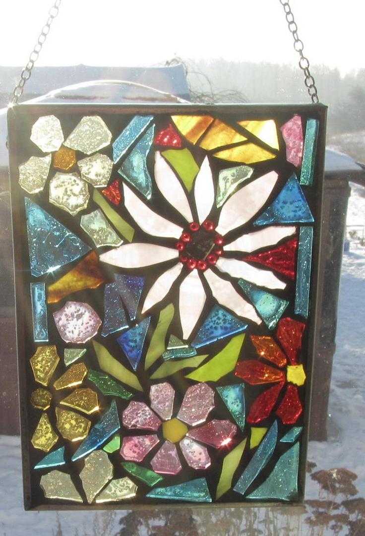 Suncatcher -Bring the Flowers in.  Mosaic Stained Glass SunCatcher or wall Decoration. $26.00, via Etsy.