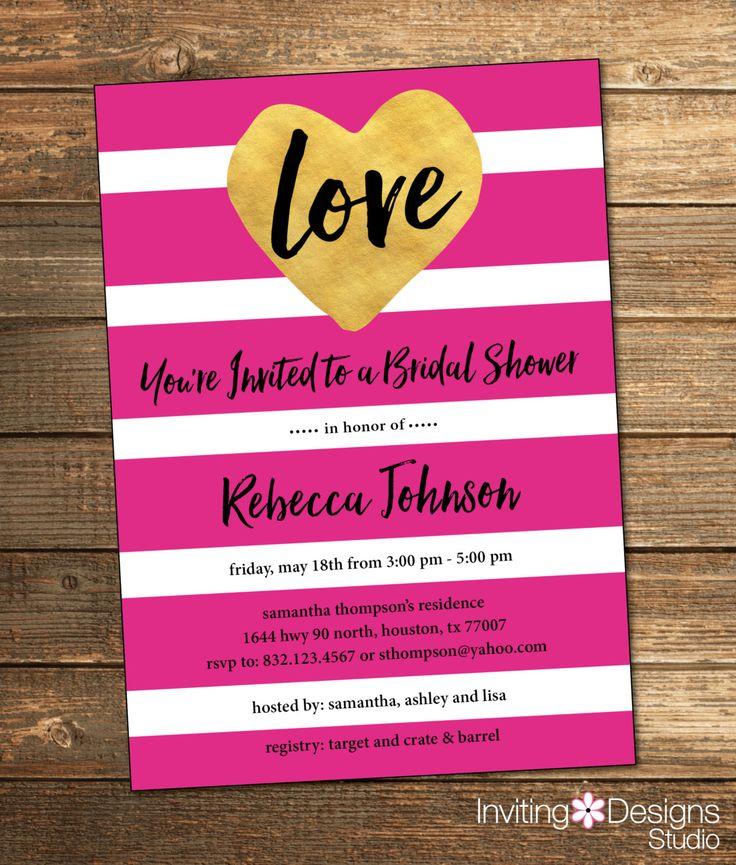pink black and white bridal shower invitations%0A Stripe Bridal Shower Invitation  Love  Hot Pink  Black  White  Gold