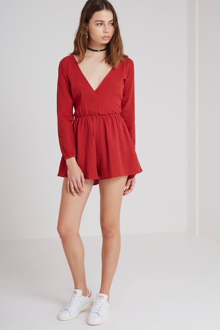 THE FIFTH - Sweet Disposition Playsuit - Burnt Red