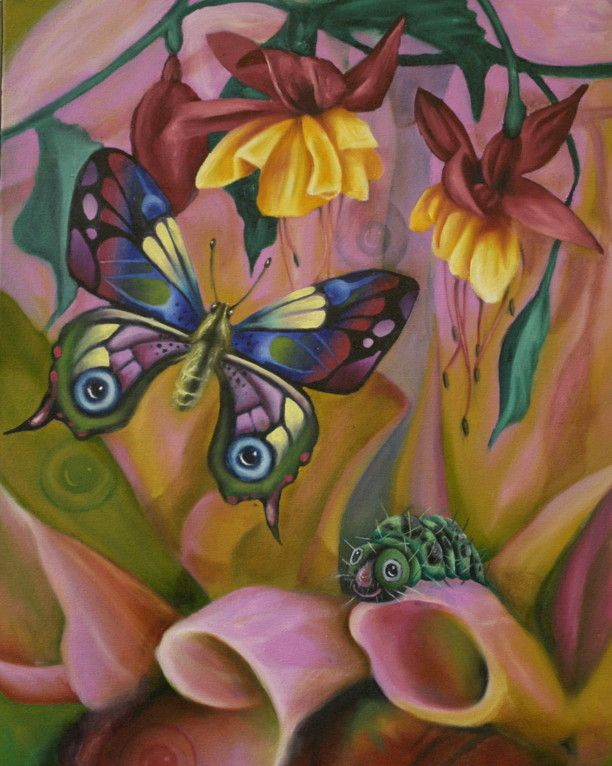 An oil painting for a cute children s book illustration about a butterfly and a caterpillar. Done by artist, Bonny Hut.
