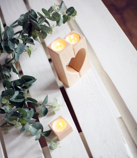 Rustikale Kerze-Halter-Hochzeitsgeschenk von WoodenEngravedShop