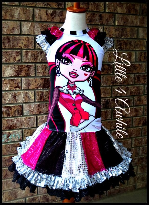 Monster High Upcycle Dress by Little 4 Awhile www.facebook.com/groups/little4awhile www.little4awhile.etsy.com