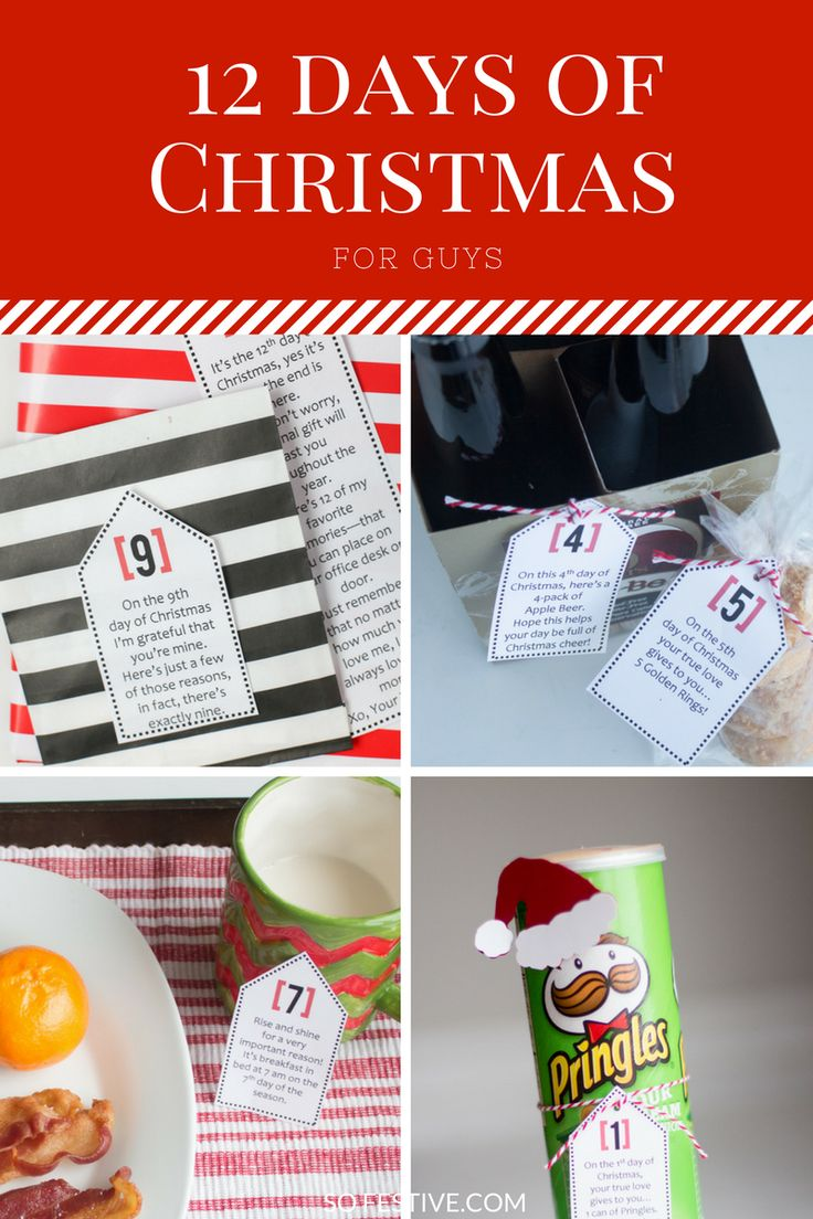 12 Days of Christmas idea for guys- printable tags with poem and gift idea for each day.