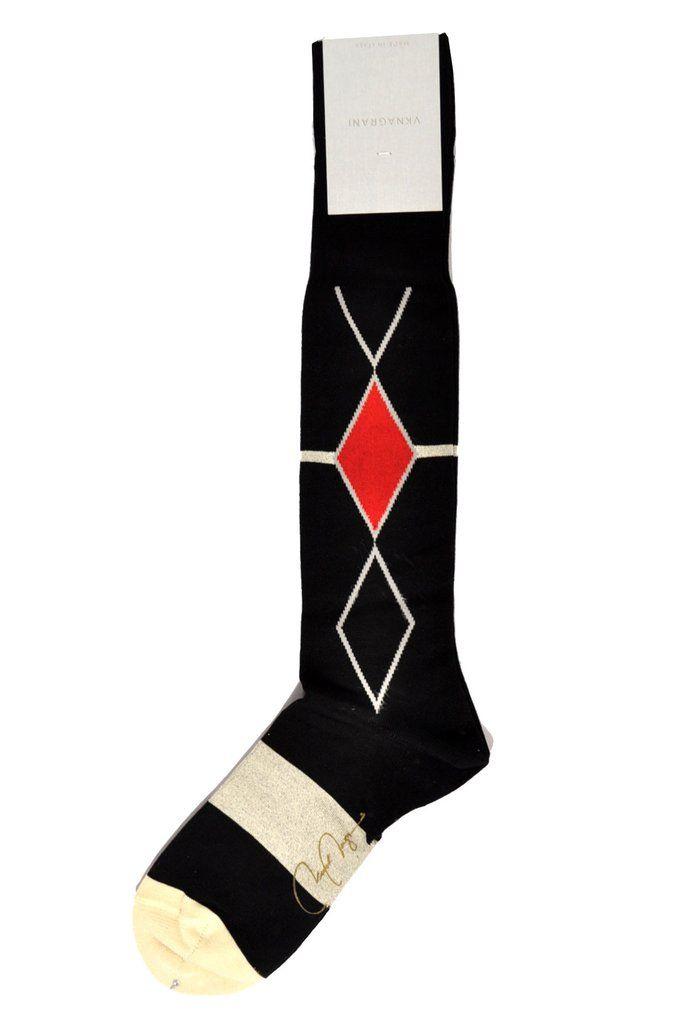 VK Nagrani Socks Black Diamonds Over-The-Calf SALE