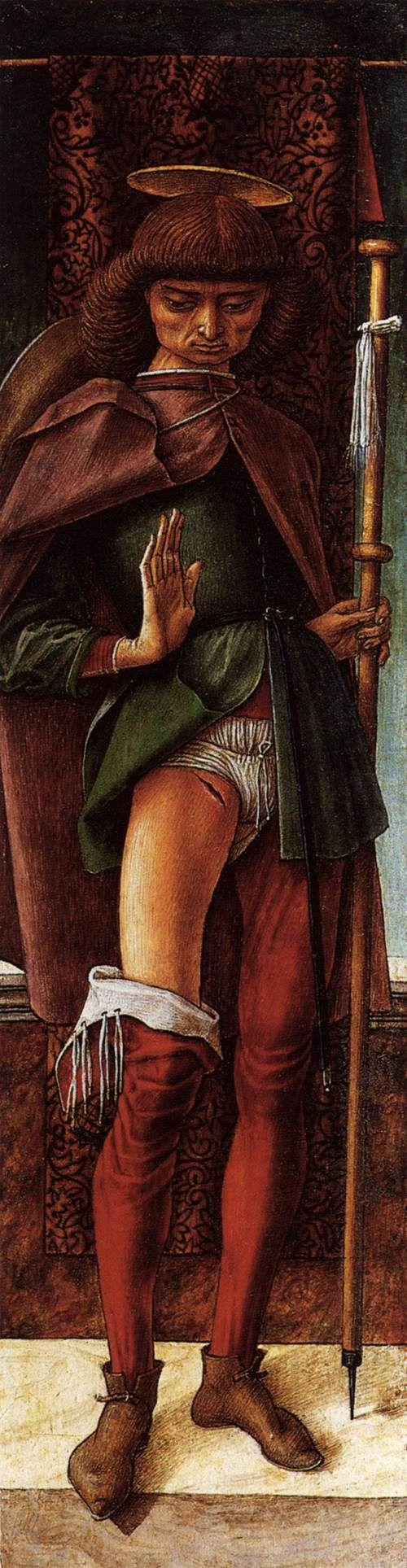 """Carlo Crivelli  """"St Roch""""  (1493) Wallace Collection, London. He's showing a (modified and more modestly placed) plague bubo."""
