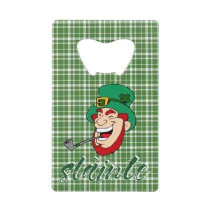 Slainte St. Patrick's Day Irish Leprechaun Celtic Credit Card Bottle Opener - st patricks day gifts Saint Patrick's Day Saint Patrick Ireland irish holiday party