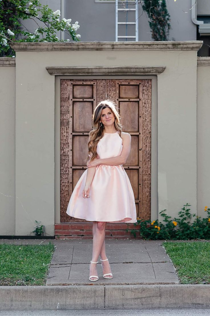 brighton the day wearing blush pink satin dress with white heels for wedding guest outfit