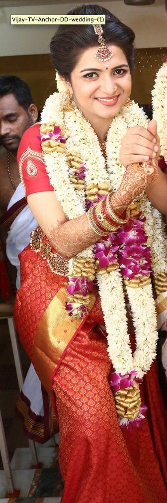 South Indian bride. Temple jewelry. Jhumkis.Red silk kanchipuram sari.Braid with fresh jasmine flowers. Tamil bride. Telugu bride. Kannada bride. Hindu bride.Malayalee bride.Kerala bride.South Indian wedding.Divyanka Tripathi wedding.
