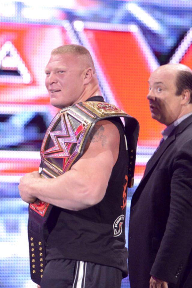 Brock Lesnar as WWE World Heavyweight Champion w/Paul Heyman