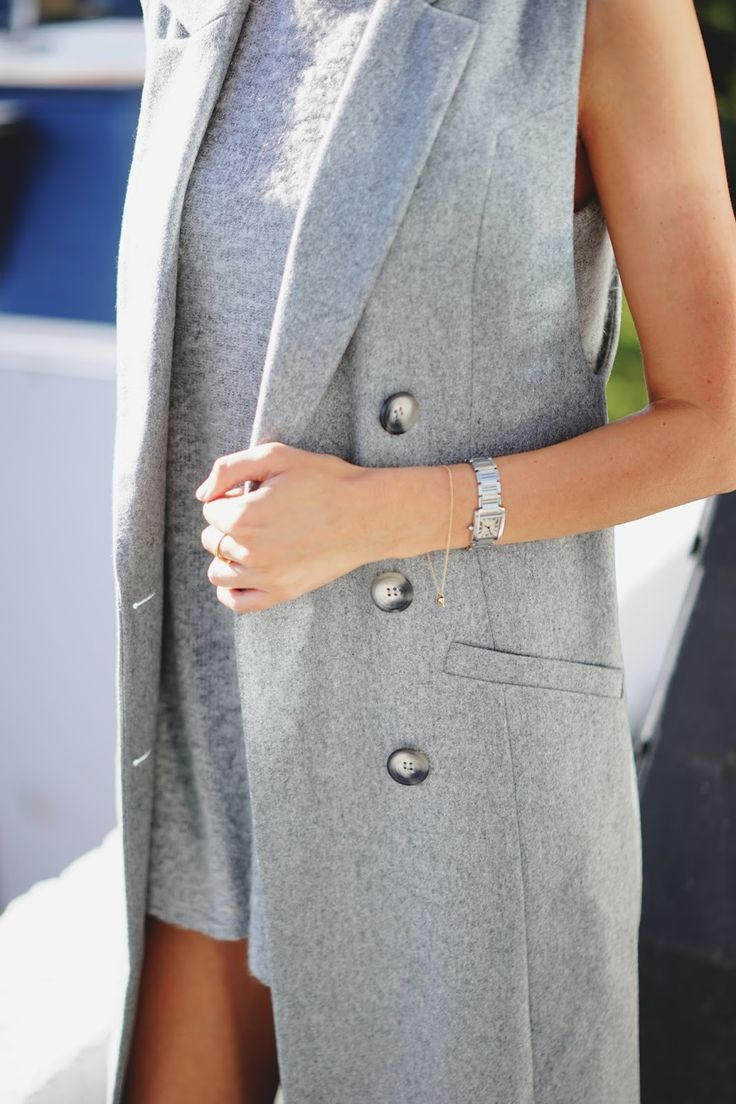 The Style Memo in layers of grey with our limited edition grey sleeveless trench coat