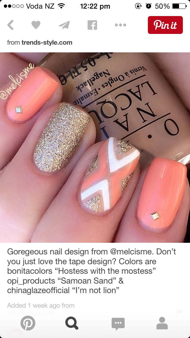 Cute coral and gold nails