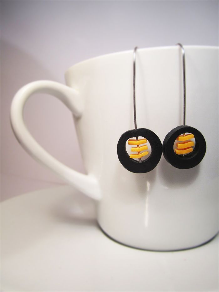 Maker's Lab Black & Yellow Minimalist Disc Earrings $18.00 includes delivery