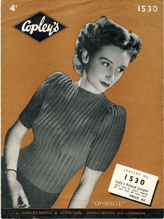 (SOLD) Original 1940's WW2 Knitting Pattern  by PatternaliaVintage