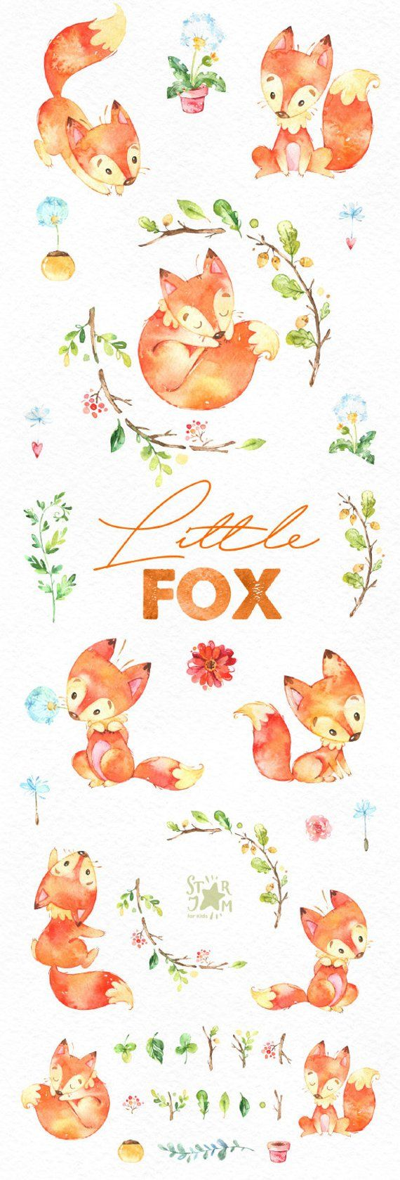 Little fox. Cute animal clipart, watercolor, forest, forest, wreath, flowers, greeting, invite, babyshower, children, beautiful, red, planner, fxbn