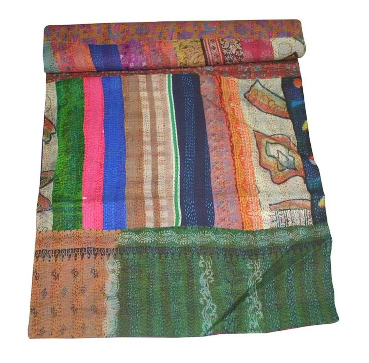 Patchwork Kantha Quilt Antique Indian Handmade Ikat Silk Queen Size Bed Cover #kaliescobar #ArtDecoStyle