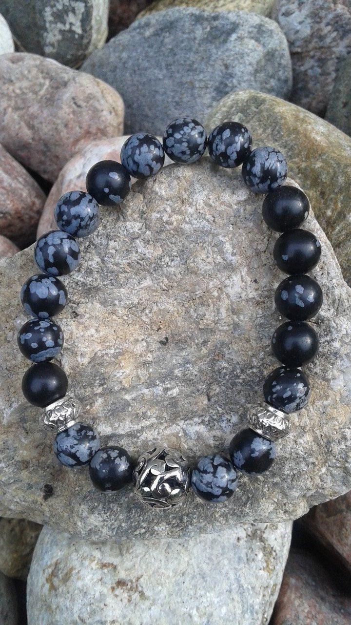 Bracelet en pierre semi précieuse obsidienne neige de la boutique dBrobijoux sur…