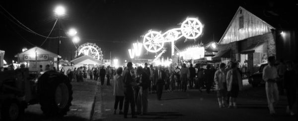 Nighttime view of the North Florida Fair in Tallahassee (1962). | Florida Memory