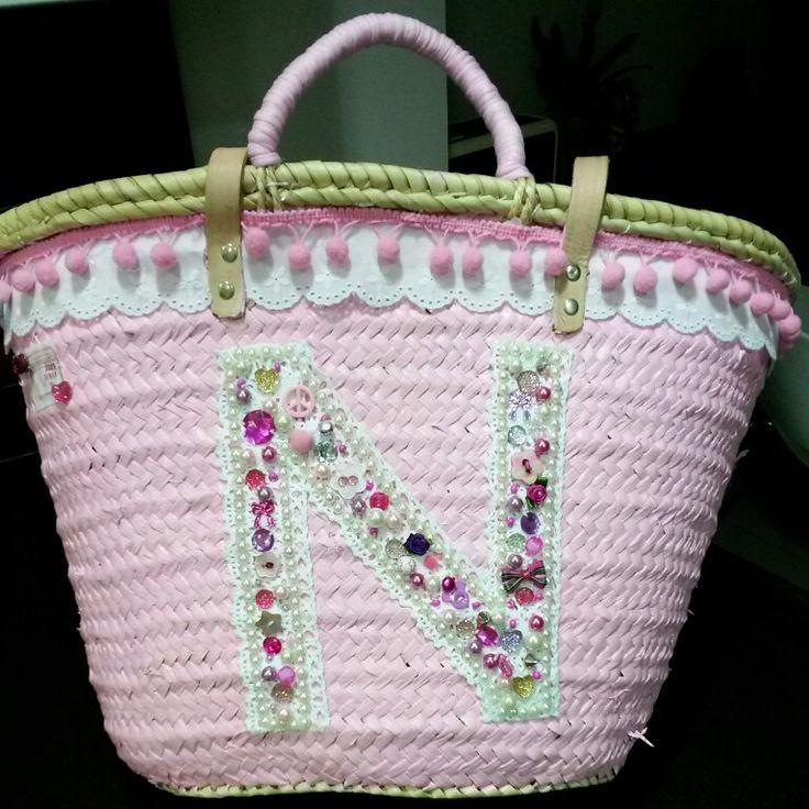 Roze ibiza tas met bolletjesband en knopen