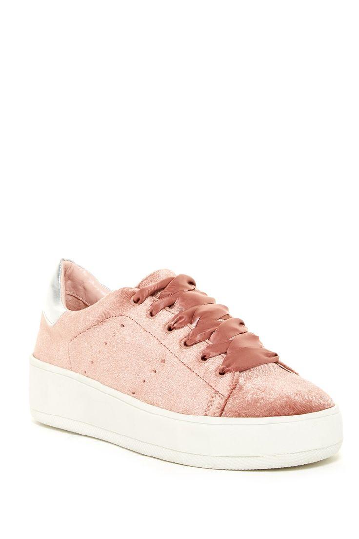 Loving these Pink Steven By Steve Madden Bogart Velvet Platform Sneakers