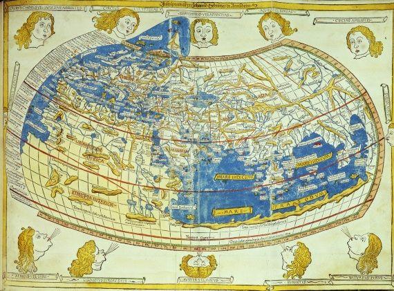 """Prima mappa """"matematica"""" tracciata nel 1486 sulla base di testi scritti nel II sec. da Tolomeo, che calcolò le coordinate di 8.000 località dell'epoca."""