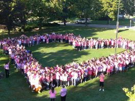Bryant Middle School students form a heart as part of the school's National Anti-Bullying Day activities. Photo Credit: Daniel Lai.