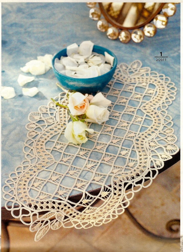 Oval Macramé Crochet Lace mat from Anna Burda February 2011: Fiber Art Reflections